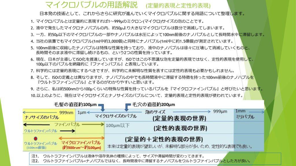 マイクロバブルの用語解説 (定量的表現と定性的表現)